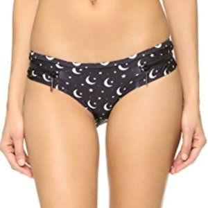 NWT Wildfox Moon Stars Zipper Black Cheeky Bikini